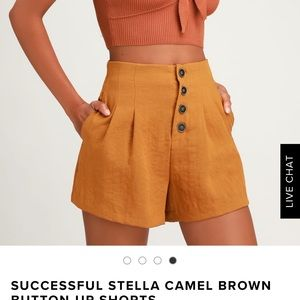 Lulus gold high waist shorts